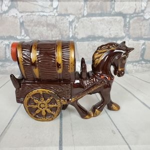 Vintage Redware Pottery Horse and Buggy Decanter